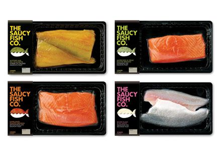 The Saucy Fish Co. - vibrant design with clear signposting, using a simple graphic device and colours to aid navigation, and a tone of voice that was charming, disarming and accessible all at once. Vacuum packaging was selected to showcase the quality of the fish, while 'shelf-ready' trays helped to achieve better stand-out.