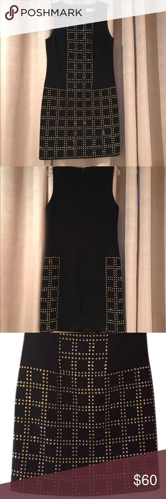 "NEW Trina Turk Dress The perfect little black party dress ! Trina Turk brand new without original tags . Gold stud detail . Zip up back . Length shoulder to bottom 33"" chest 15.25"" flat across. Bottom width 18.5"" flat across Trina Turk Dresses Mini"