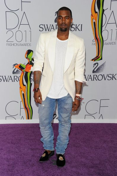 Kanye West in Shawl-Collar Tuxedo Jacket, Balmain Jeans, and Stubbs & Wootton Slippers | UpscaleHype