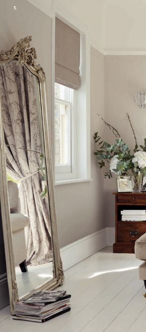My grey walls in my bedroom are too dark! I think I might change it to this laura ashley - dove grey paint! -mirror, blind