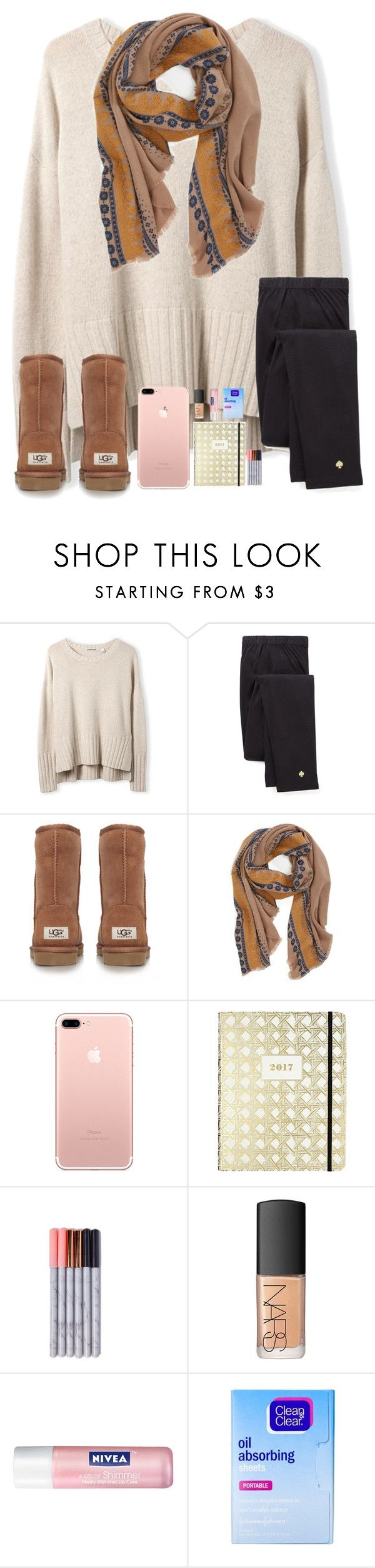 """Leggings, and Oversized Sweaters "" by kari-luvs-u-2 ❤ liked on Polyvore featuring Kate Spade, UGG Australia, Hinge, NARS Cosmetics, Nivea and Clean & Clear"