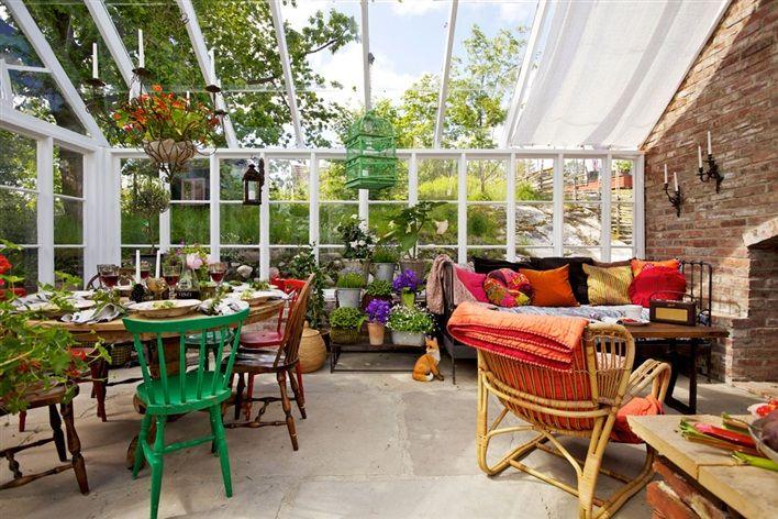 Wonderful Greenhouse in the Swedish Garden #interior #design #greenhouse #outdoors #garden #swedish #sweden #interioridea #howtodesign #decor #exposedbrick