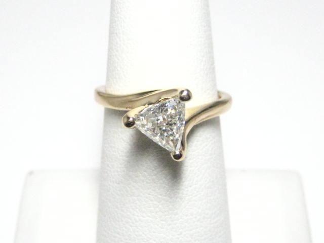 1 Carat Trillion Diamond Solitaire Designer Engagement Ring  #UniqueSolitaireDiamondRing