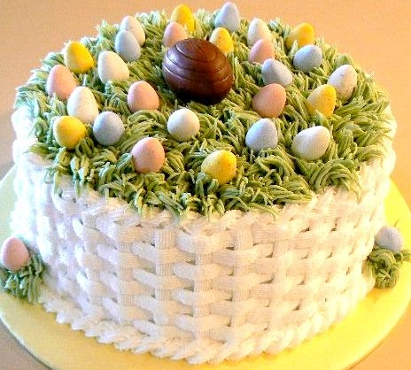Cool Easter cake, I love the basket weave on the cake. reminds me of my sisters cake when I was young.