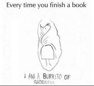 Do not look at me. I do not exist. I ended with the book. I am now only a burrito of sadness.