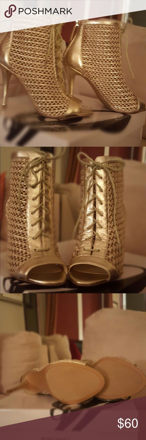 Nine West Booties Lace up these Nine West Daiquiri booties. They are a size 7, gold, open toe booties. $60.00 dollars, I purchased them for $80.00. They have NEVER been worn! Nine West Shoes Heels