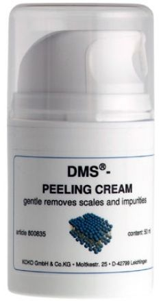 Skin Care  Masks, Massages  Peeling  DMS®-Peeling Cream  DMS®-Peeling Cream  Gentle removes the build up of dead skin cells. Peeling and care of skin in one simple step.   Composition  DMS®-cream with jojoba beads (wax particles).  Properties The DMS®-Peeling cream is free of tensides and emulsifiers. It is based on DMS®-cream;