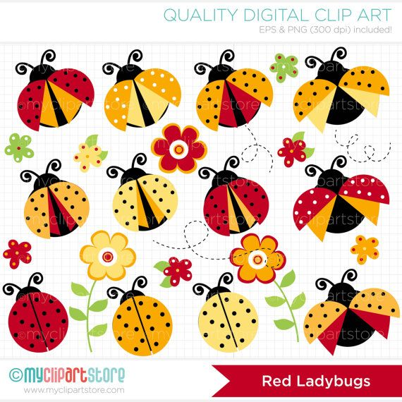 Red and Yellow Ladybugs Clip Art / Digital by MyClipArtStore, $5.00