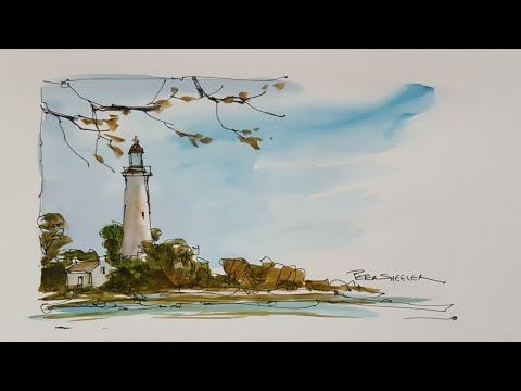 A quick and fun, pen and wash demonstration of a Lighthouse painting. Easy to follow and learn. - YouTube