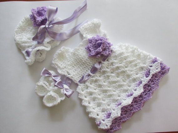 Crochet pattern baby dress hat and shoes in 4 size por paintcrochet