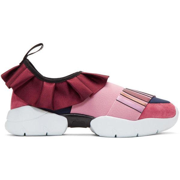 Navy Metallic Ruffle Sneakers