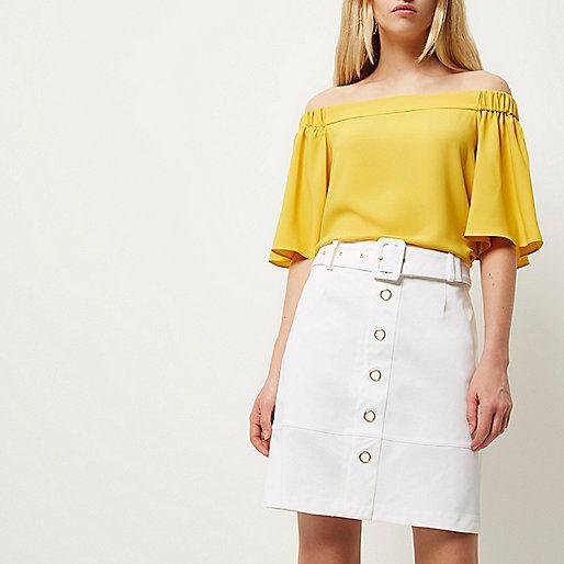 Witte A-lijnrok met riem - minirokken - rokken - dames