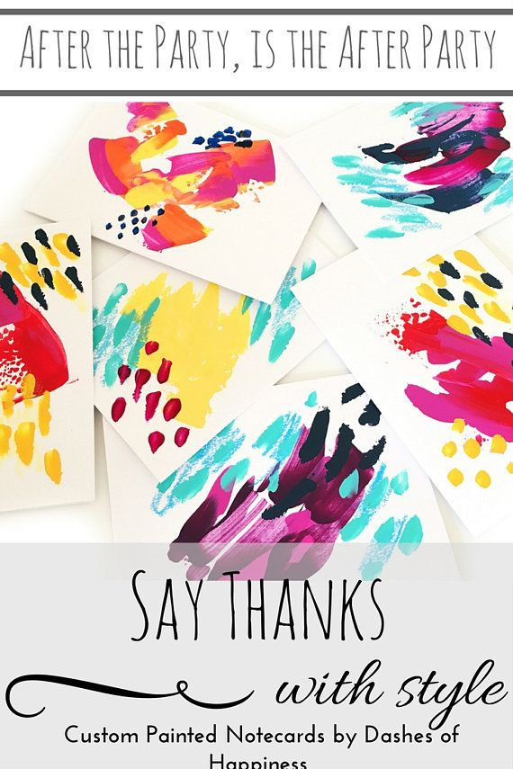 Don't forget the thank you notes! After the perfect party, send the perfectly coordinated note to say thank s. Custom painted to order to match your party!