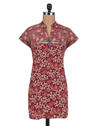 Buy Vastra Vinod Red Cotton Sequins Worked Kurti Online, , LimeRoad