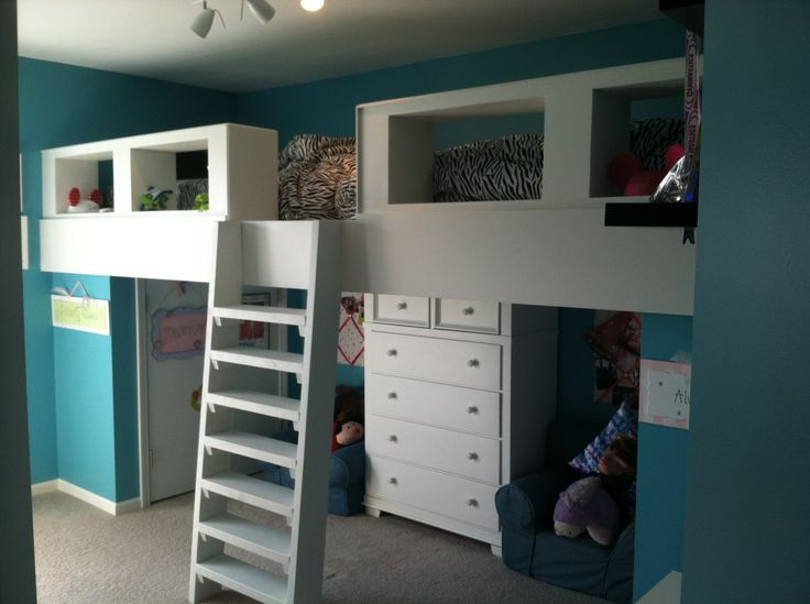 Girls loft beds Im thinking this is 2 mattresses end to end. Making it super long. I would take away one mattress and use it for blanket or clothes storage