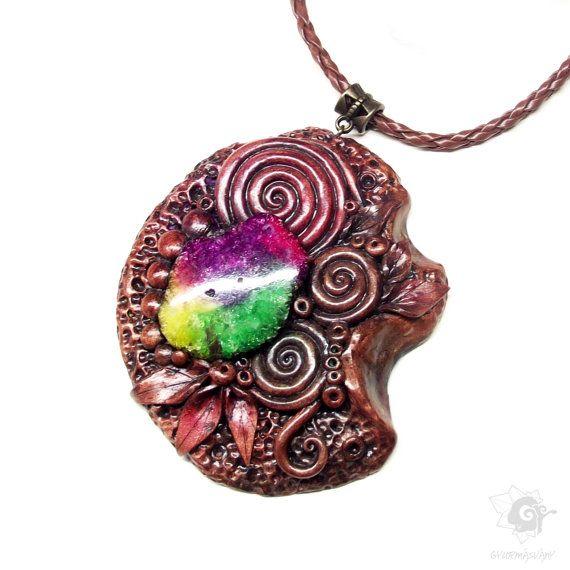 Colorful Quartz Celtic Necklace Peace Element by SpiritualAmulets