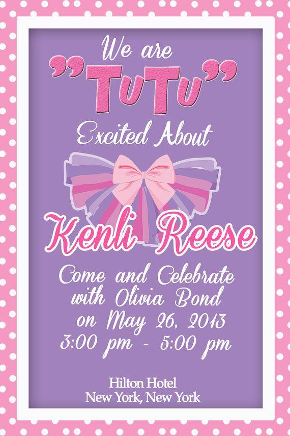Baby Shower Tutu Inspired Party Invitation Digital Printable File Light Pink Purple Tutu Excited