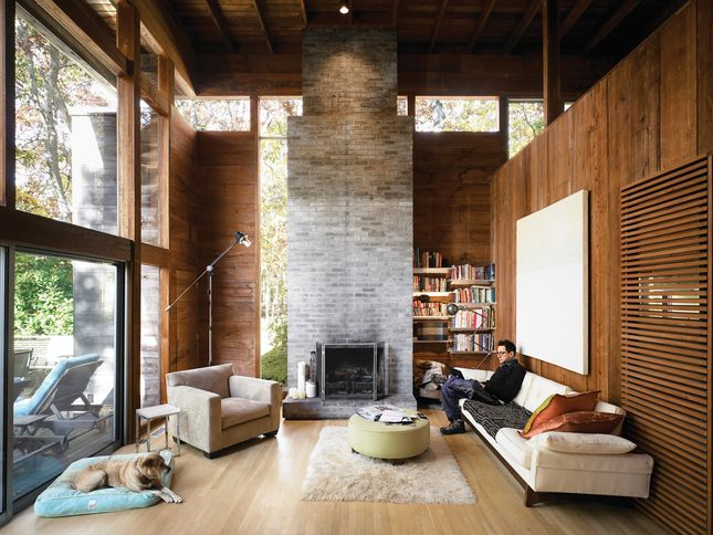 Amagansett: Bates Masi, double height living room with fireplace, lined with cypress boards