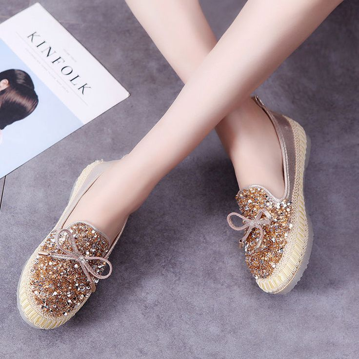Retro Fashion Ladies Slip On Shoes Low Top Lace Up Sequins Loafers 3 Colors Chic