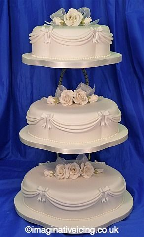 Scalloped Oval Wedding Cake