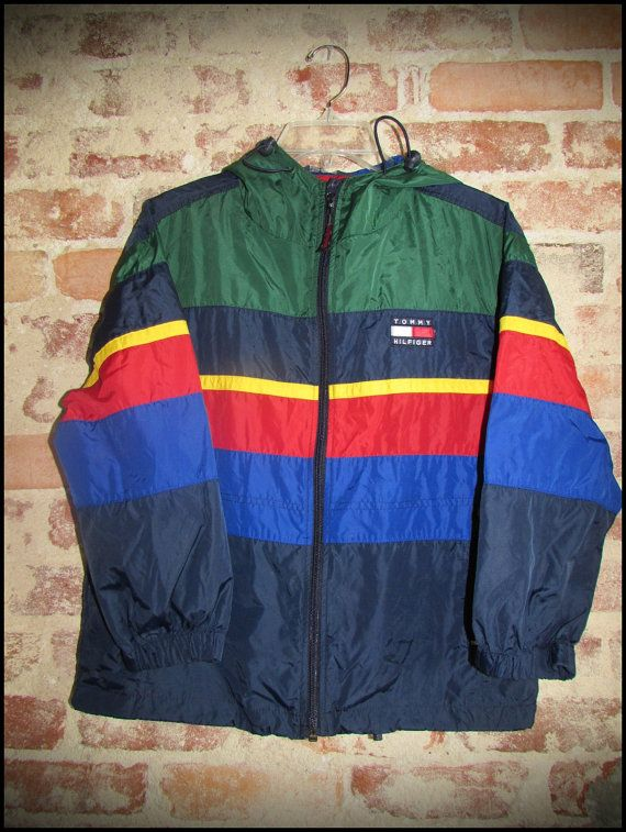 vintage 90 39 s tommy hilfiger colorblock windbreaker jacket. Black Bedroom Furniture Sets. Home Design Ideas