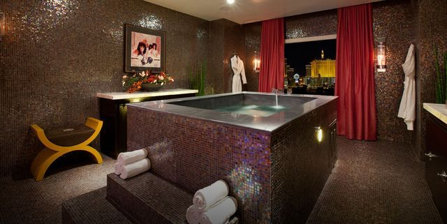 A a six-person soaking tub inside the penthouse suite at the Hard Rock Hotel in Las Vegas - The Hard Rock Hotel