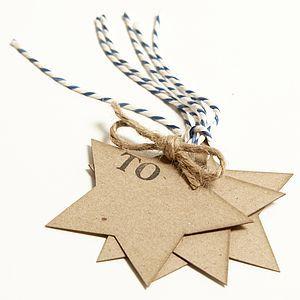 재활용 스타 모양의 선물 태그 팩 - 리본 및 포장