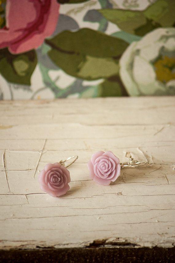 Elegant Soft Purple Resin Rose Earrings by BeautyfromashesUSA