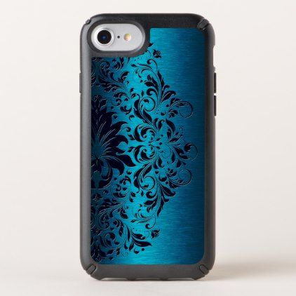 Blue Background & Blue Lace Design No.2 Speck iPhone Case - metallic style stylish great personalize