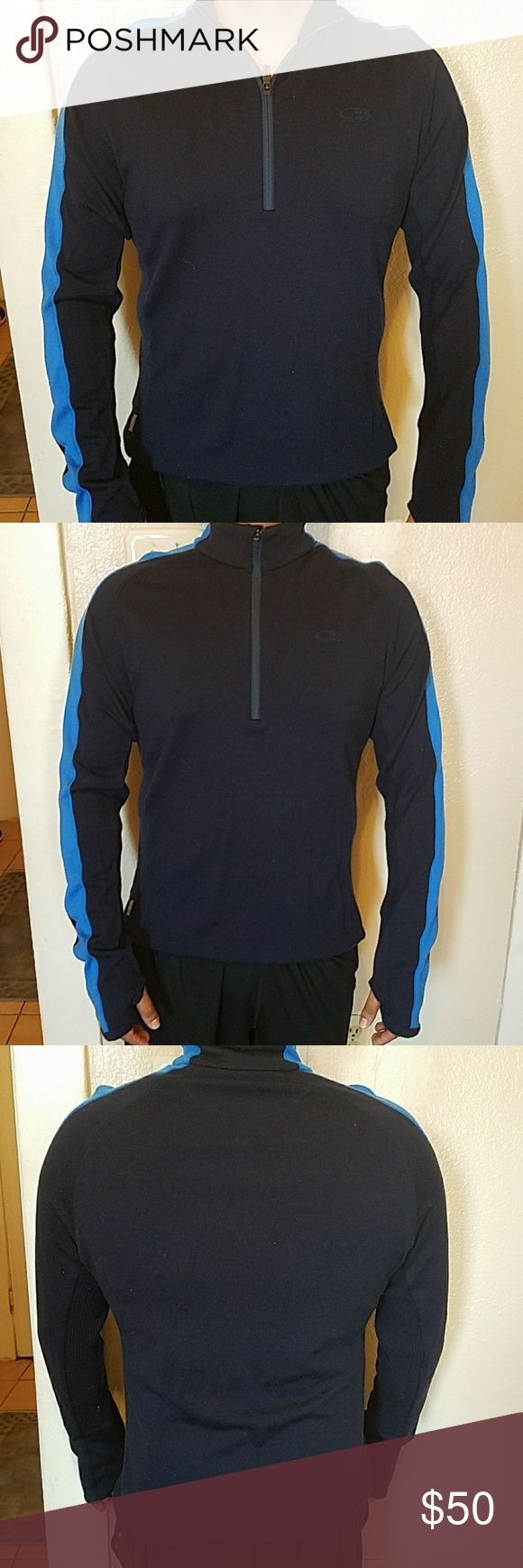 Ice breaker men's half zip collared sweater 100% merino wool, perfect condition!! Like new!! Are able to insert thumbs through sleeve. Icebreaker Sweaters Zip Up