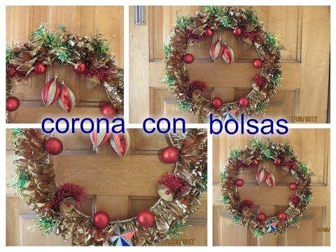 (3226) CORONA NAVIDEÑA CON BOLSAS PLÁSTICAS - YouTube