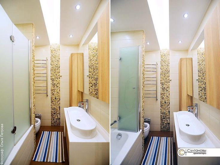 #Интерьер #ванной комнаты #квартиры в #казани. Помню, мы вручную перебирали огромные тюки с галькой во дворе @zlatalit_kazan, чтобы собрать вот это панно из натурального камня, которое переходит в светящуюся полосу на потолке и для обрамления торца перегородки, за которой спрятался #унитаз.   #Замёрзли, но собрали то, что было нужно #просто мы любим свою работу  #дизайнинтерьеров #дизайнинтерьера #дизайнинтерьераказань #ванная #дизайнванной  #деталь #детальинтерьера #интерьер…