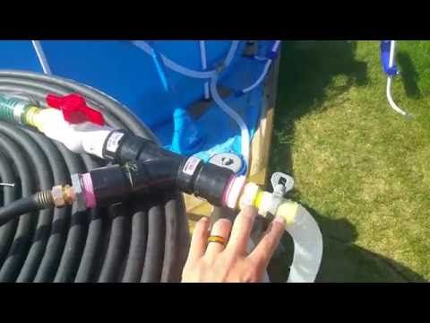 How to make a valve that heats your above ground pool with solar heat and original pump - YouTube