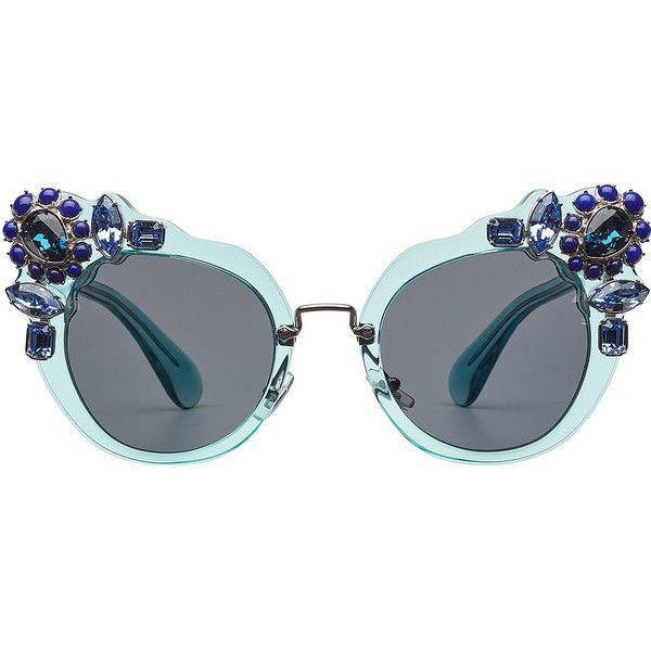Miu Miu Embellished Cat-Eye Sunglasses ($459) ❤ liked on Polyvore featuring accessories, eyewear, sunglasses, none, jeweled sunglasses, cat-eye glasses, blue cat eye sunglasses, transparent glasses and see through sunglasses