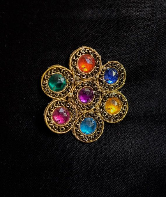 Rainbow diamonte flower applique by ColourCocoon on Etsy