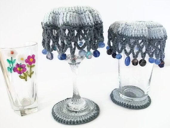 Beaded Glass Covers & Coaster Sets inDk Grey and Pale Blue. Camping, Spring, Summer, Picnics, Alfresco, BBQ, Garden Party..