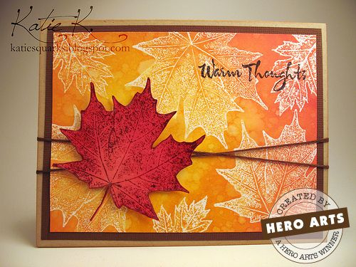 Our Fresh Face for this month is QuarkyKatie with this beautiful fall creation. She's combined our Real Leaves stamps with a ton of Distress Inks and we love the result!