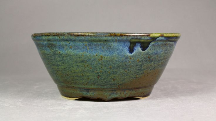 "Forest Green over Night Ocean 6.125"" Round Bonsai Pot by Ashley Keller"