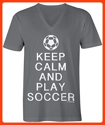 KEEP CALM and play Soccer ☆ V-Neck T-Shirt Männer-Herren ☆