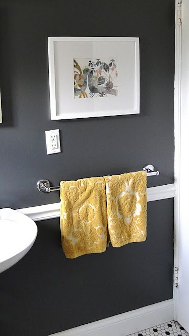 Bathroom color idea.  A Lovely Lark: HOME TOUR. ~This is very similar to the color Chris and I got for the bathroom.
