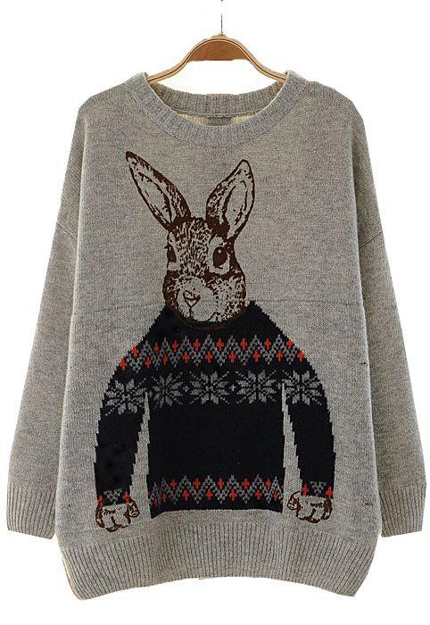 Grey Batwing Long Sleeve Rabbit Print Sweater