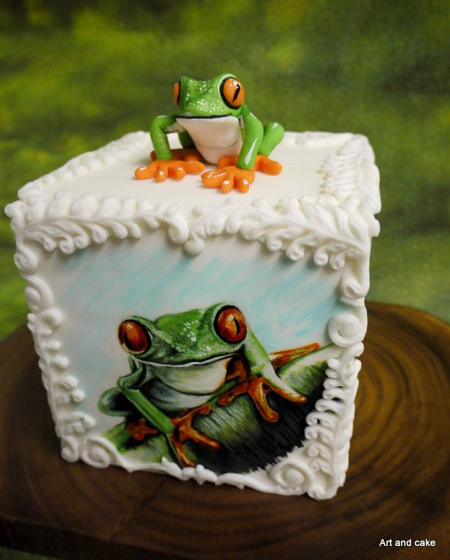 Hand painted frog cake and a fondant froggy - Froggy cake