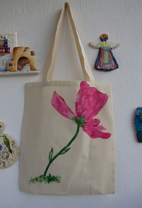 HAND PAINTED Cotton Tote Bag / Shopping bag / Cotton Bag hand painted on bag,our design. its unique for you.  one side painted a pink flower