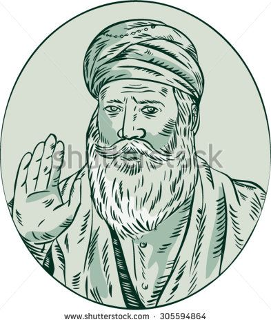 Etching engraving handmade style illustration of a Sikh guru nanak ji priest waving viewed from front set inside oval. #guru #etching #illustration