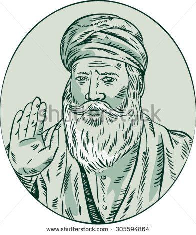 Etching engraving handmade style illustration of a Sikh guru nanak ji priest waving viewed from front set inside oval. #guru #etching #illustration