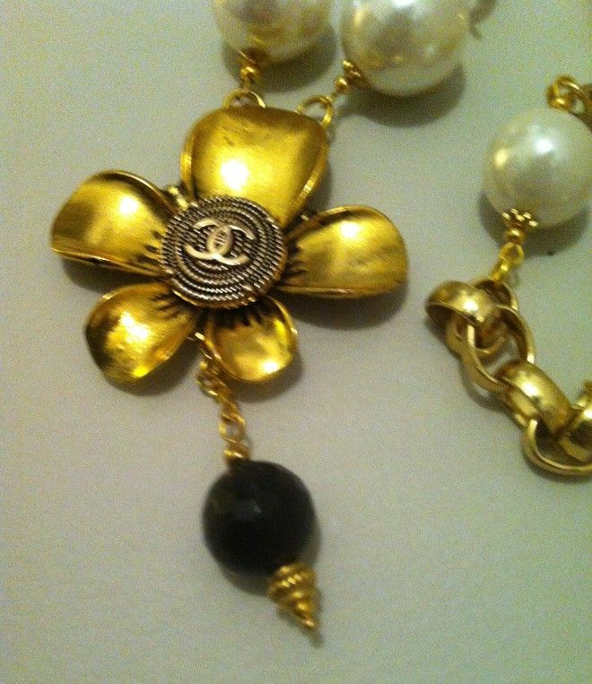HANDMADE 145 - necklace fiore - bottone logo
