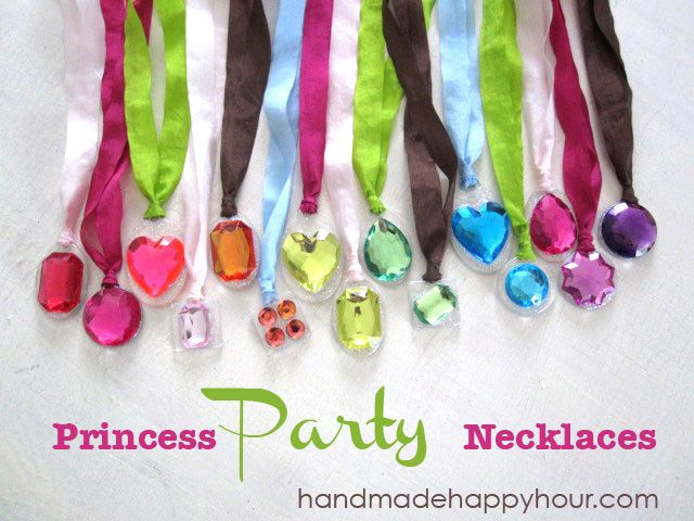 how to make girls party necklaces - CUte! The girls can do this at Serenas princess/fairy party maybe? I could set up a table and let them all pick out which ones they like and make their own.