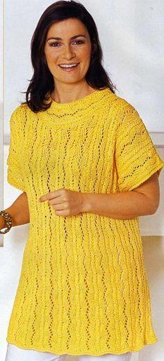 Ажурный пуловер, связанная спицами. Модели для полных