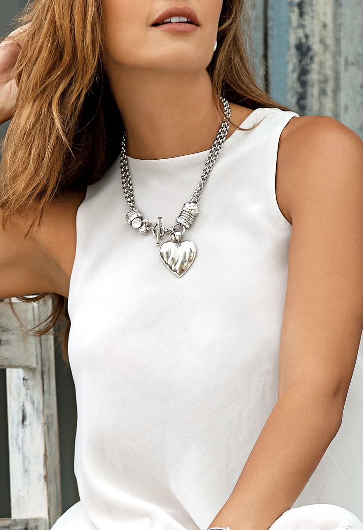 #migliostyle - the beautiful versatile N1001 #necklace embellished with #Swarovski crystals worn short with an organic EN1098 burnished silver #pendant - www.miglio.com