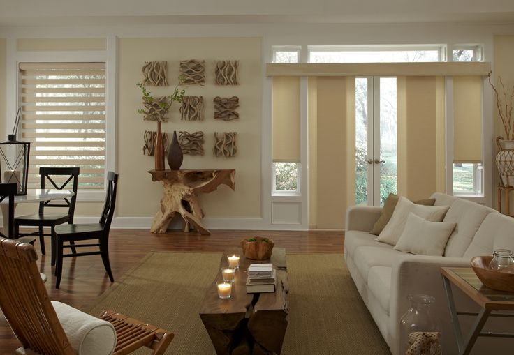 Motorized transitional roller shades set the mood in this rustic living room.